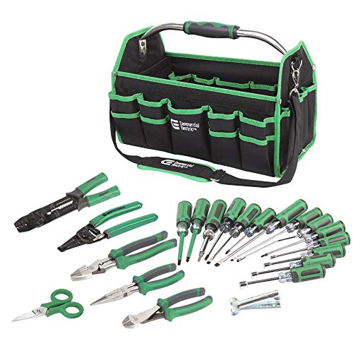 Hand Electrician's Tool Handheld Set Screw Drivers Nose Cutting Pliers 22-Piece (Commercial Electric Tools)