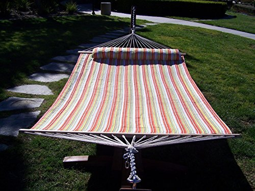 Petra Leisure, 14 Ft. Water Treated Wooden Arc Hammock Stand + Deluxe Quilted, Double Padded Hammock Bed w/Pillow. 2 Person Bed. 450 LB Capacity (Coffee Bean Stain/Spring Stripe)