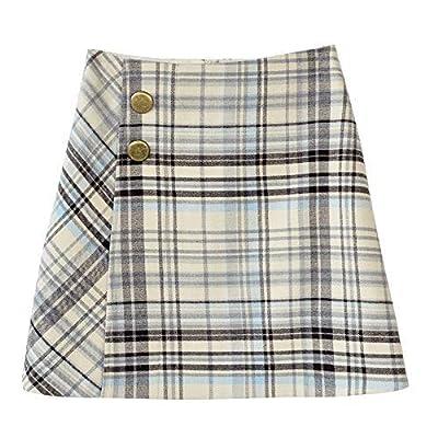 Dabuwawa Vintage Plaid Skirt For Girls High Waist Button A-Line Mini Checked Skirts