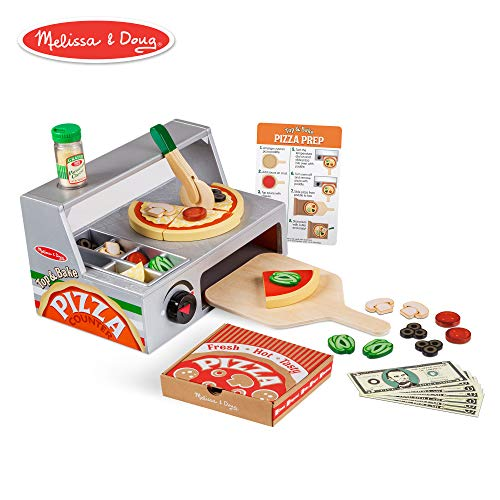 - Melissa & Doug Top and Bake Wooden Pizza Counter Play Food Set (Pretend Play, Helps Support Cognitive Development, 34 Pieces, 7.75
