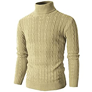H2H Mens Casual Slim Fit Pullover Sweaters Knitted Turtleneck Long Sleeve Twisted