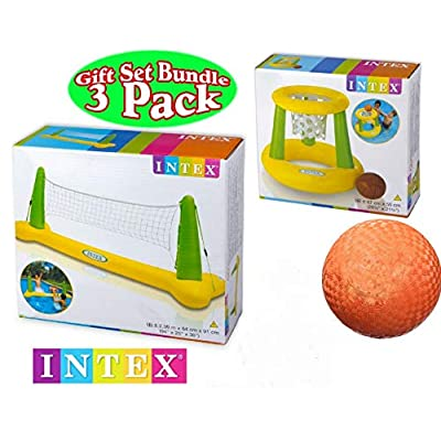 Intex Floating Pool Volleyball Game & Floating Hoops Basketball Game with Exclusive Matty's Toy Stop 4.25