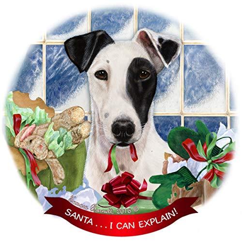 Fox Terrier Black/White Dog Porcelain Ornament Pet Gift 'Santa. I Can Explain!'