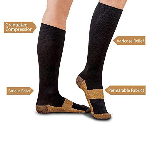 Price comparison product image Microhealthone Graduated Copper Compression Socks 15-20 mmHg Anti Fatigue Knee High Socks, Small/Medium