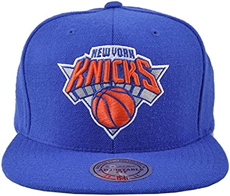 9540df777833a New York Knicks NBA Mitchell   Ness Team Logo Solid Wool Adjustable Snapback  Hat