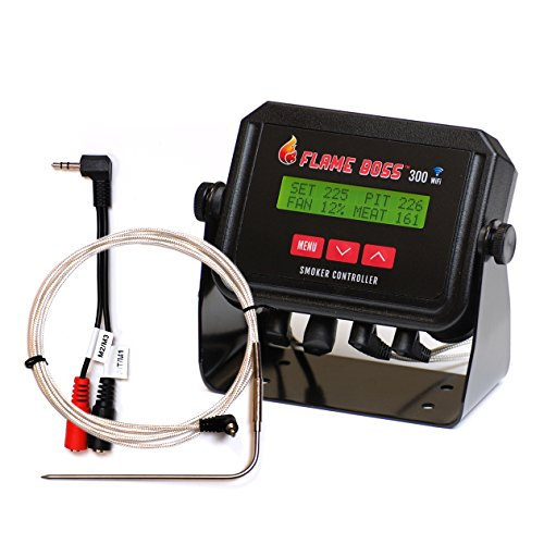 Flame Boss 300-WiFi Kamado Grill and Smoker Temperature Controller - Contains Additional Meat Probe and Y Adapter - Recipe eBook Incl. by Flame Boss