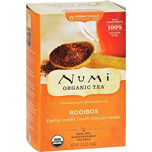 Numi Tea Organic Rooibos - Caffeine Free - 18 Bags - 95%+ Organic - 100% Real Ingredients