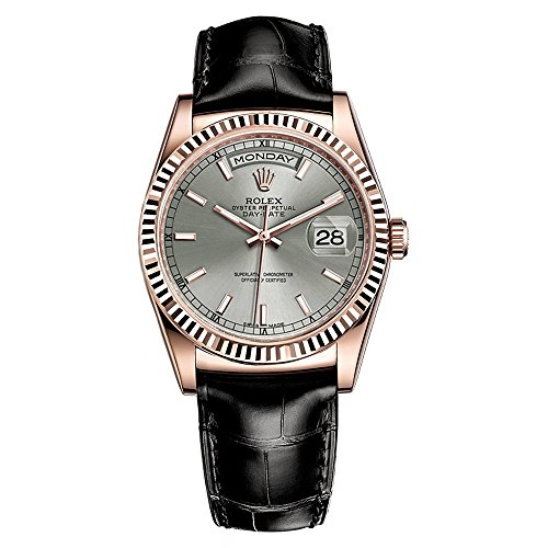 - Rolex Day-Date President 36 Everose Gold Watch Black Leather Strap 118135
