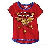 Wonder Woman Toddler GirlsMy Mom Is My Wonder Woman Short Sleeve Gold Glitter Tee (5T)