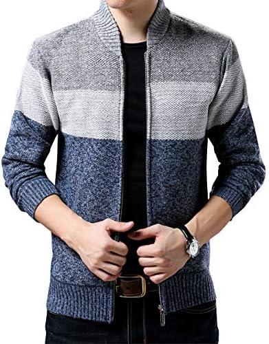 カーディガン メンズ ニット ジャケット セーター ボーダー 長袖 冬 大きい サイズ 防寒コート 裏起毛