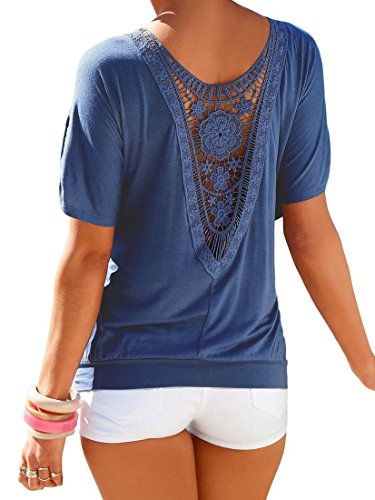 Cute Spring Clothes (Women Sexy Blouse Loose Backless Hollow Lace T Shirt Tops Blue)