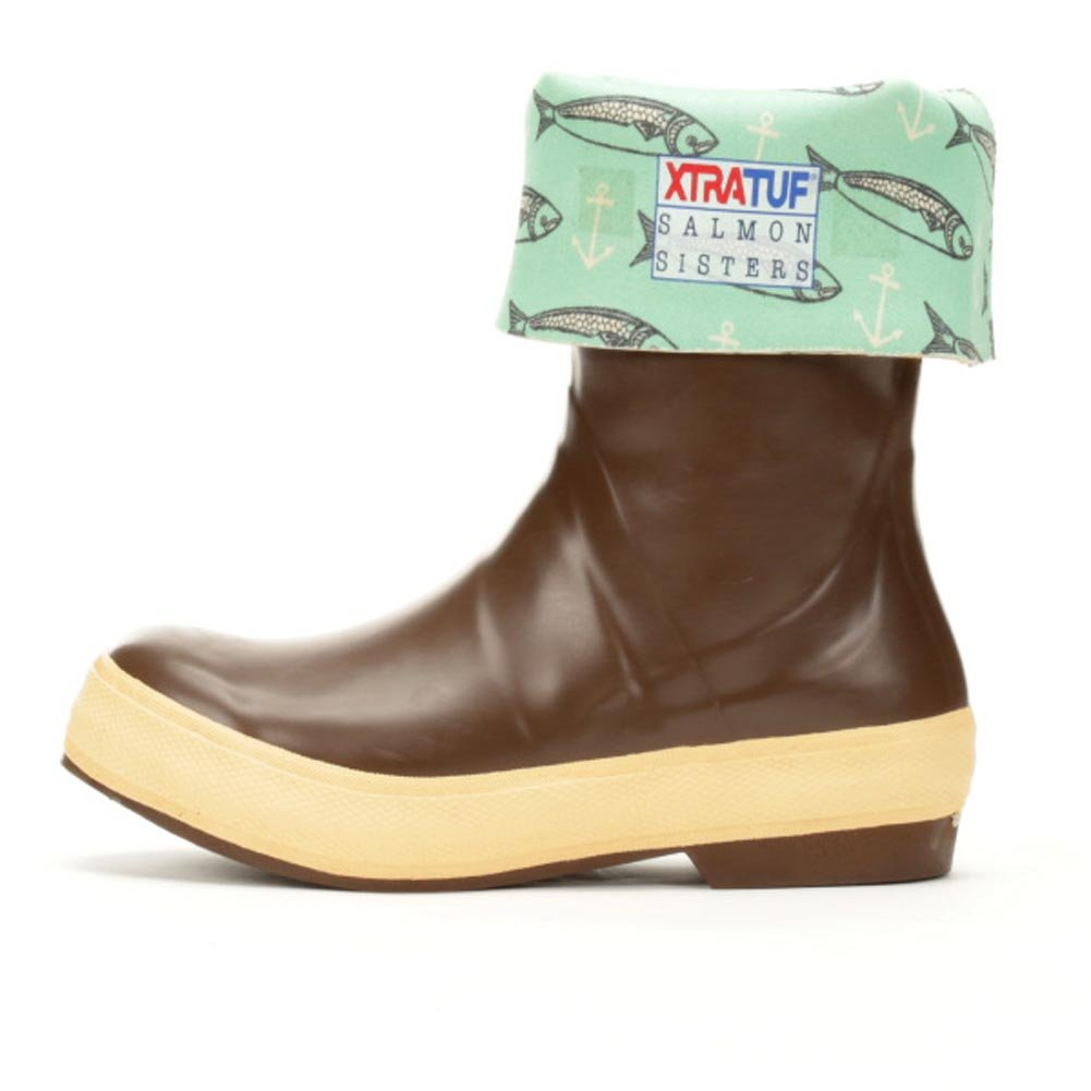 Xtratuf Women's Salmon Sister 12'' Legacy Neoprene, Rubber Outdoor Boots B071X3TCMX 7 M US|Chocolate, Beige, Fish Print