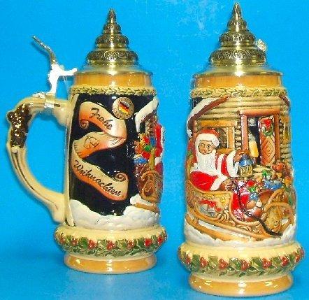 Santa's Sleigh LE German Christmas Beer Stein .5L One New Mug Made in Germany