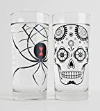 Cheap Halloween Glassware Set – Black Widow Spider and Sugar Skull Glasses – Set of 2 Halloween Glasses