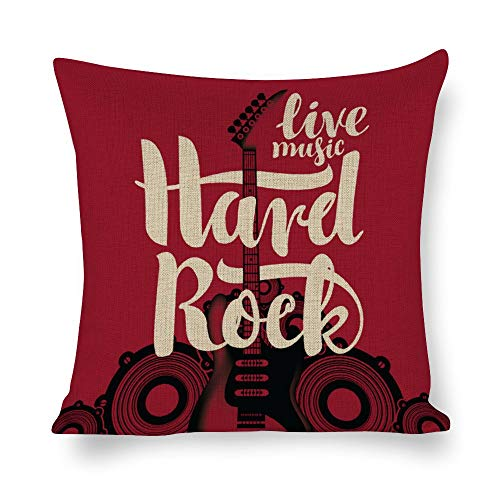Welkoom Cotton Linen Blend Decorative Square Throw Pillow Cover Electric Guitar and Hard Rock Cushion Covers Pillowcase, Home Decor Decorations for Sofa Couch Bed Chair -