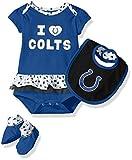 NFL Girls Newborn Indianapolis Colts Team Love Onesie, Bib and Bootsies, 12 Months