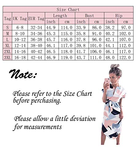 LitBud Womens Summer Dresses for Women Ladies Short Sleeve Casual Work Party Belted Shift Midi Tunic Dress UK Pink Size 6 8 S