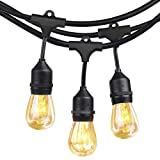 Outdoor String Lights with Edison Vintage Dimmable 11S14 Bulbs SHINE HAI Commercial & Industrial Grade Light String 10 Dropped Sockets Weatherproof Perfect for Patio Cafe Umbrella Bistro Yard-14Ft