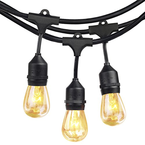 SHINE HAI 48Ft 24 Hanging Sockets Outdoor String lights with 11S14 Edison Vintage Bulbs-Commercial Grade Strand, Weatherproof, Perfect for Market Cafe Bistro Patio Garden Porch Backyard Party Deck-Blk (Socket String)