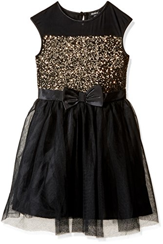 Black Sequin Bow Dress (ZUNIE Big Girls' Illusion Sequin Dress with Bow, Black/Gold, 16)