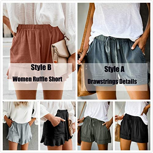 HUUSA Women's Drawstrings Casual Loose Comfy Summer Beach Shorts with Pockets