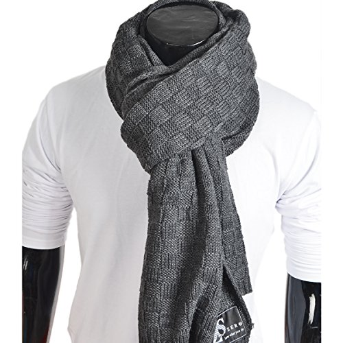 Cable Long Scarf Knit (Men's Long Scarf Knit Cable Scarf Soft Winter Scarves (31-DGrey))