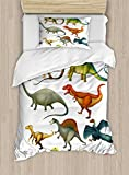 Ambesonne Dinosaur Twin Size Duvet Cover Set, Various Different Ancient Animals from Jurassic Period Cartoon Mammals Pattern, Decorative 2 Piece Bedding Set with 1 Pillow Sham, Multicolor