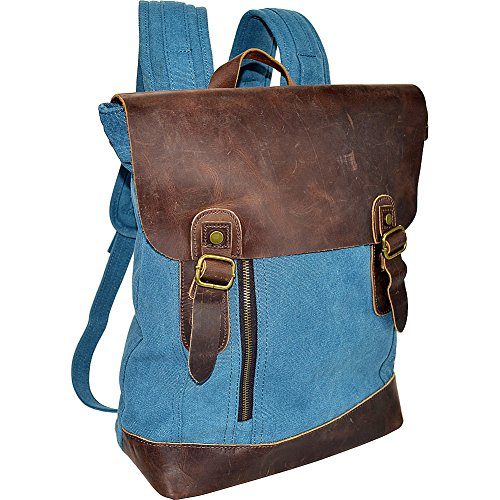r-r-collections-canvas-backpack-bag-with-leather-on-flap-blue