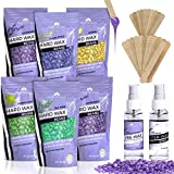 Hair Removal Wax Refill - Hard Wax Beans Kit [6 Bags + Pre & After Spray] Hard Wax Beads Hair Removal - Waxing Beds