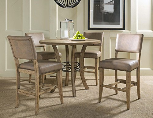 5-Piece Counter Height Round Wood Dining Set with Parson Stool