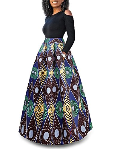 WO-STAR Womens African Print Dashiki Dress Long Maxi A Line Skirt Ball Gown With Pockets L by WO-STAR