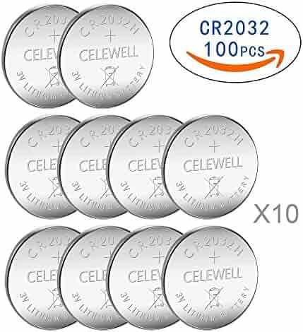 CELEWELL 100 pcs CR2032 Battery 3V Lithium Batteries CR2032 H 230mAh High Capacity 3 Years Warranty