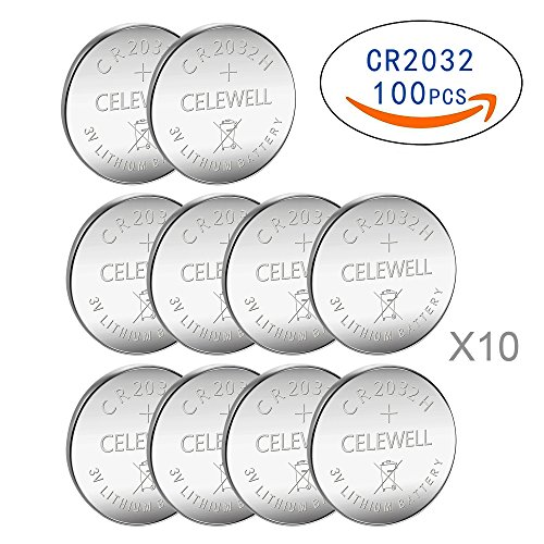 CELEWELL 100 CR 2032 3V Batteries CR2032 H 230mAh High Capacity Lithium Coin Button Cell (Motherboard Battery)