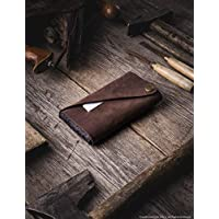 Leather iPhone Xr, Xs & Xs Max case/wallet, minimalist, slim sleeve/cardholder, unique vintage Crazy Horse Wood Brown leather, 100% wool felt, iPhone Xr/X / 8/7 / 6 / 6s cover, Crazy Horse Craft
