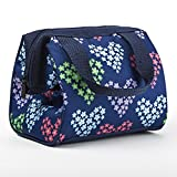 Fit & Fresh Kids' Riley Insulated Lunch Bag with Zipper, Cute School Lunch Box for Girls, Navy Heart Flowers