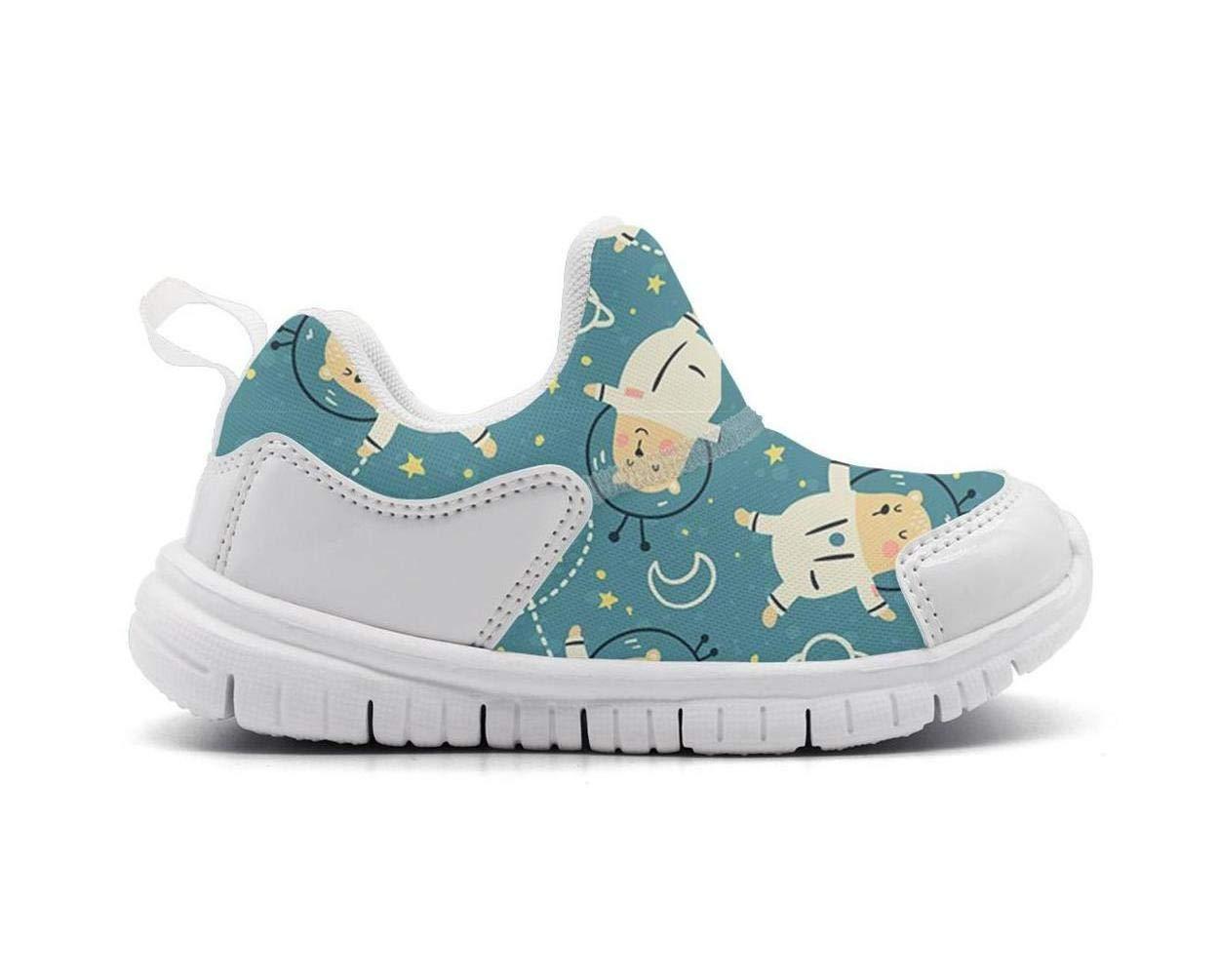 ONEYUAN Children Green Galaxy Astronaut Bear Kid Casual Lightweight Sport Shoes Sneakers Running Shoes