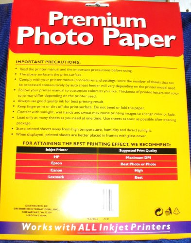 Premium Photo Paper 5760dpi 8 Sheets of Size 8.5''x 11''