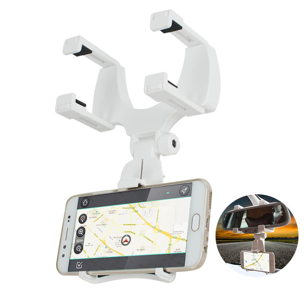 ixaer Car Phone Holder, Rearview Mirror Mount Stand Holder with One-Touch Design Dashboard for iPhone 7/7Plus/6s/6Plus/5S, Galaxy S5/S6/S7/S8, Google Nexus, LG, Huawei and More (White)