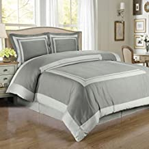Egyptian Bedding 3 Piece King Size Hotel Wrinkle Free Gray and Light Gray Duvet Cover Set, 100% Egyptian Cotton