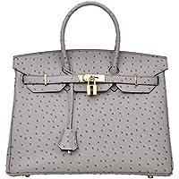 Cherish Kiss Women's Handbags Top Handle Padlock Bags Genuine Leather Embossed Ostrich Purses