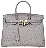 Cherish Kiss Luxury Women's Genuine Leather Embossed Ostrich Top Handle...