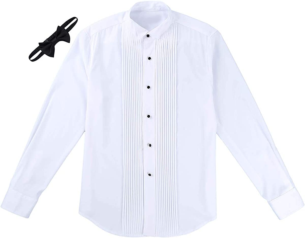 Freebily Camisa Manga Larga Blanca Hombres Slim Fit con Corbata de ...