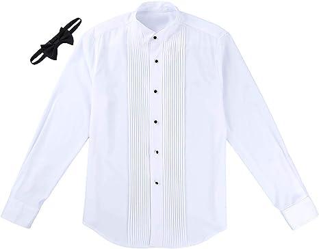 iixpin Camisa Manga Larga Blanca de Esmoquin Hombre Blusa Slim Fit ...
