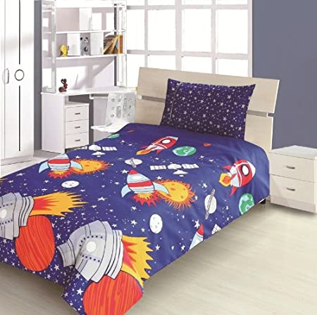Childrens kids double bed size rocket design boys duvet for Childrens rocket bed