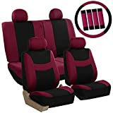FH GROUP Stylish Cloth Full Set Car Seat Covers (Airbag & Split Ready) Combo-FH2033 Steering Wheel & Seat Belt Pads, Burgundy / Black Color- Fit Most Car, Truck, Suv, or Van