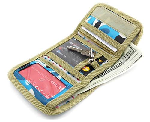 Trifold Canvas Outdoor Sports Wallet for Kids - Front Pocket Wallet with Zipper - B