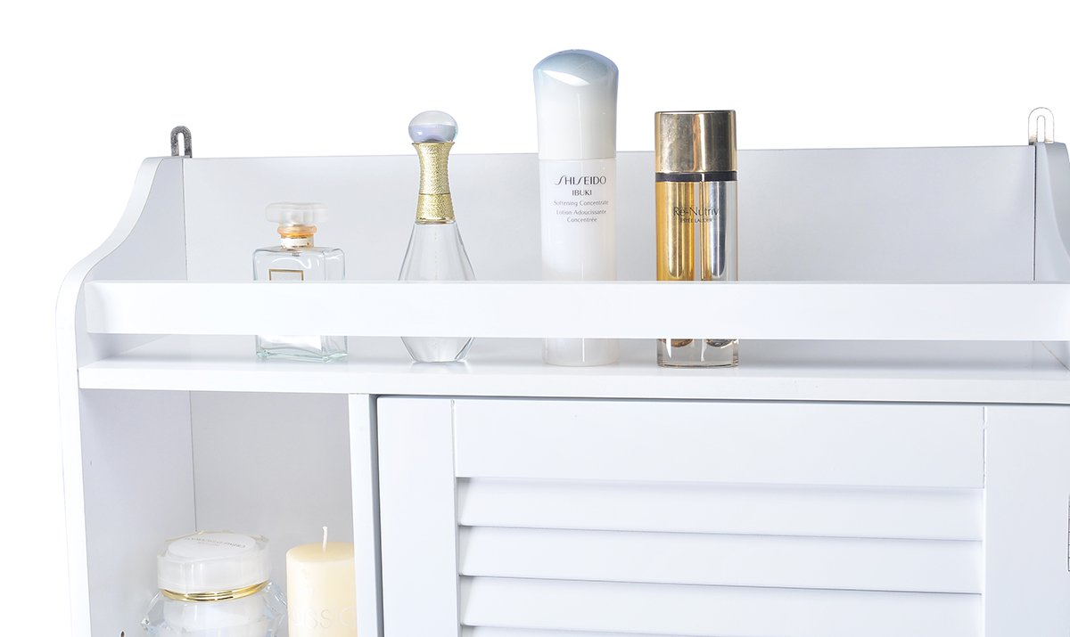 Spirich Home Bathroom Shelf over the toilet, Bathroom Cabinet Organizer over toilet with Louver Door, White Finish by Spirich Home (Image #4)