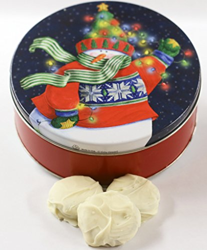 Scott's Cakes White Chocolate Covered Cool Mint Oreos in a Small Holiday Lites Tin ()