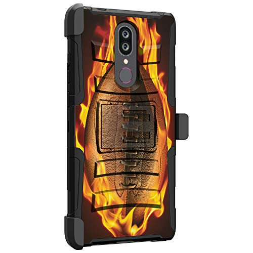 MINITURTLE Compatible with Coolpad Legacy/Coolpad Alchemy Hybrid Clip Armor Holster Hard Shell Case with Kickstand Feature - Flaming Football
