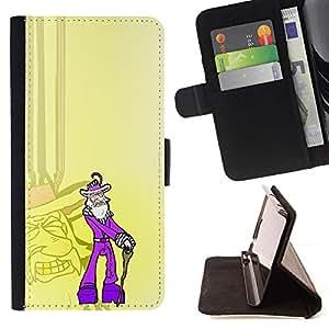 Momo Phone Case / Flip Funda de Cuero Case Cover - Purple Old Pimp - Funny - Sony Xperia M4 Aqua